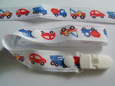 A GORGEOUS CARS AND LORRYS DUMMY CLIP /PACIFIER / TOY CLIP (NEW)