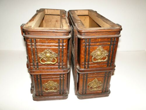 Set of 4 Ornate Wood Drawers from Singer Treadle Sewing Machine Cabinet