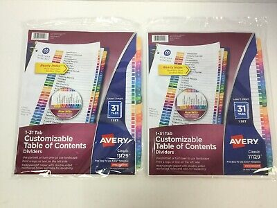 Avery 31-tab Dividers For A 3 Ring Binders Customizable Multicolor Tabs 11129