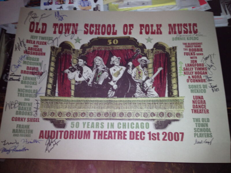 Signed poster commemorating 50th anniversary of Old Town School of Folk Music