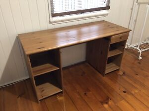 Timber IKEA Desk with drawer and shelves