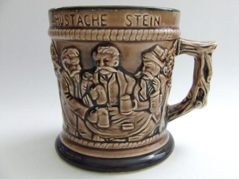 Vintage Mustache Stein 3 Men Drinking Ceramic Beer Mug Cup Japan