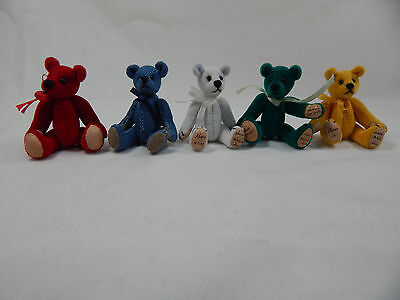 "World Of Miniature Bears Dollhouse Miniature 2.5"" Plush Bear 5 Pcs  #380-LOT"