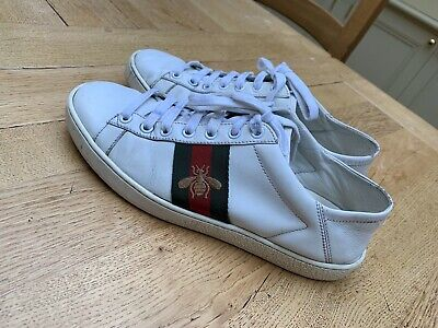 Womens Gucci Ace Bee Embroidered Trainers White Size 5