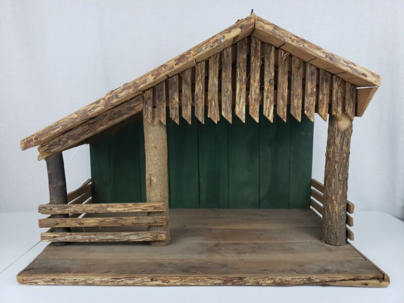 """Vintage Very Old Large Christmas Nativity Manger Creche Wood Stable For 10-12"""""""