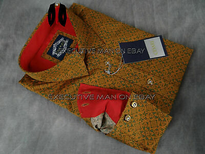 Mens CESARI by PLATINI Button Shirt Deep Green and Brown Paisley's in Slim Fit Green Paisley Shirt