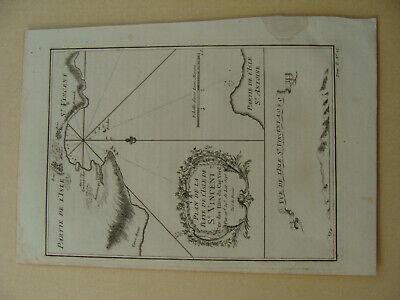 Antique 1757 Bellin Plan De La Baye De L'Isle De St Vincent, Une des Ifles du Ca