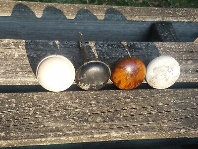 Lot of 4 VINTAGE ANTIQUE DOORKNOBS: 2 Porcelain or Marble, 2 Steel or Metal