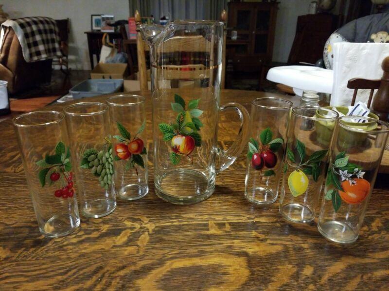 Vintage West Virginia Company Glass Pitcher & 6 Gold Trim Tumbler Glasses