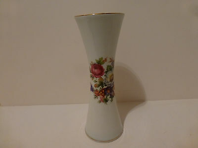 "Vintage Bavaria Waldershof Hand Painted Vase 22K Trim Germany 8""     (S4"
