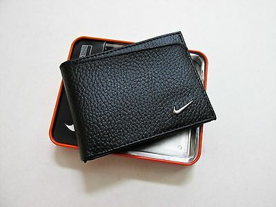 NIKE GOLF MEN'S BLACK TEXTURED LEATHER PASSCASE BILLFOLD WALLET NEW IN GIFT BOX