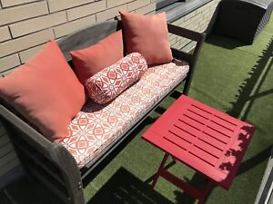 5 pillows and cushion with bonus red folding table