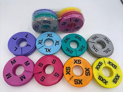 Round Clothing Rack Size Dividers Plastic Hanger Ring Xxs -xxxl 120 Pcs 8 Colors