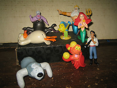 "8 RARE HTF DISNEY LITTLE MERMAID COLLECTABLE FIGURE'S  LOT , "" SOLD AS IS """
