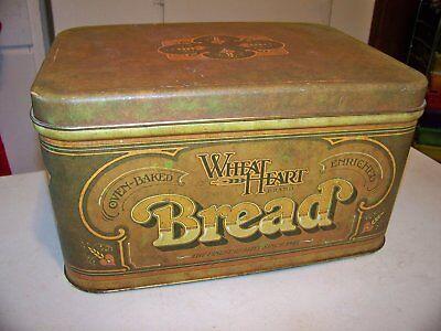 VTG WHEAT HEART TIN BREAD BOX 1970'S PENTRON