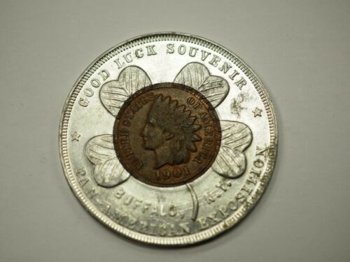 PAN-AMERICAN EXPOSITION - ENCASED 1901 INDIAN HEAD PENNY ~ GOOD LUCK - 647