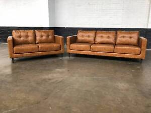 Italian Leather 3 and 2 seater Package (tan) Granville Parramatta Area Preview