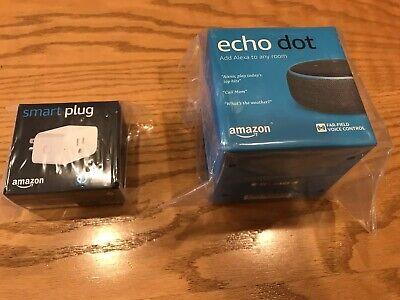 New+Sealed Echo Dot 3rd Gen Smart Speaker bundle with Amazon Smart Plug,Charcoal