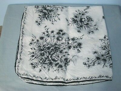 Vintage Scarf Black White Flower Floral Design 29 x 29