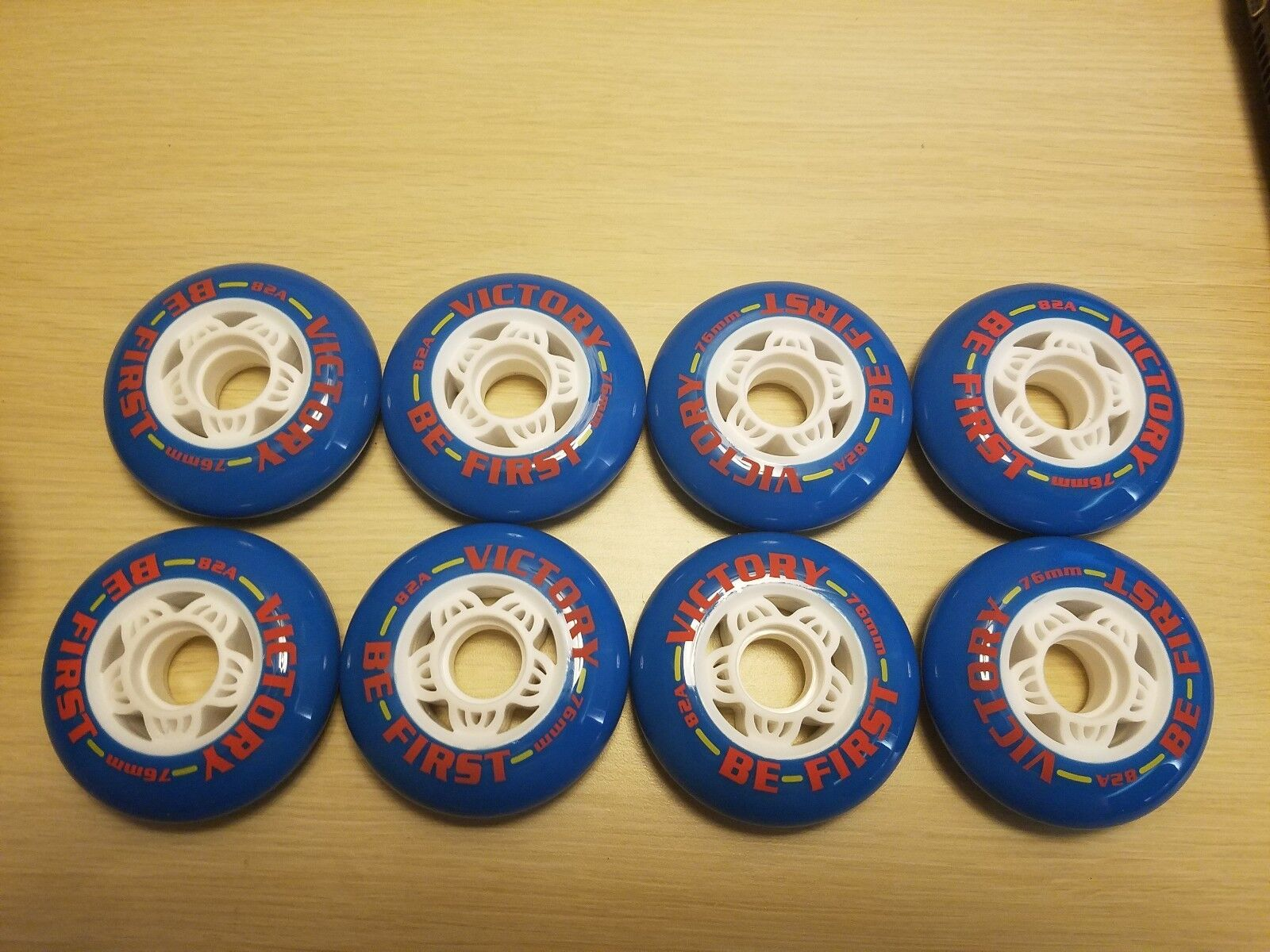 """BRAND NEW """"VICTORY BE FIRST"""" INLINE SKATES WHEELS SIZE 76mm 82A 8-PACK"""