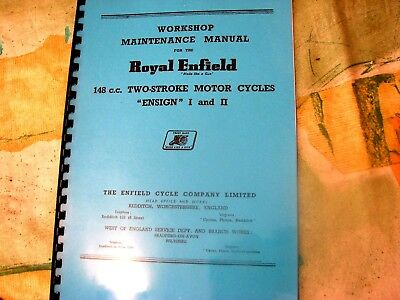 Royal Enfield Bullet 148cc Ensign I & ll Workshop Manual 1956-62 - REW14
