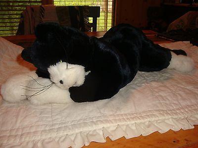 FOLKMANIS FULL BODY PLUSH  FLOPPY CAT KITTEN BLACK AND WHITE SHORTHAIR-CUTE