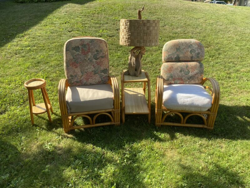 vintage rattan bamboo furniture, 16 Pieces