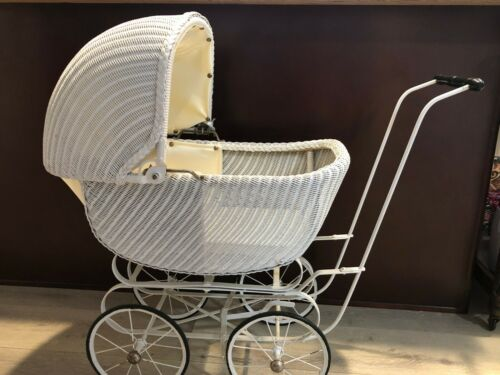 """Antique Victorian White Wicker Baby Stroller Doll Carriage, 32"""" T, 34"""" L, 15"""" W"""