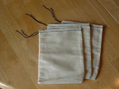 25 (4x6) Cotton Muslin Black Hem and Black Drawstirng Bags