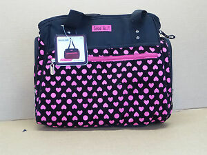 Black Pink Baby Girl Diaper Bag with Easy Access Storage & Wipe Dispenser