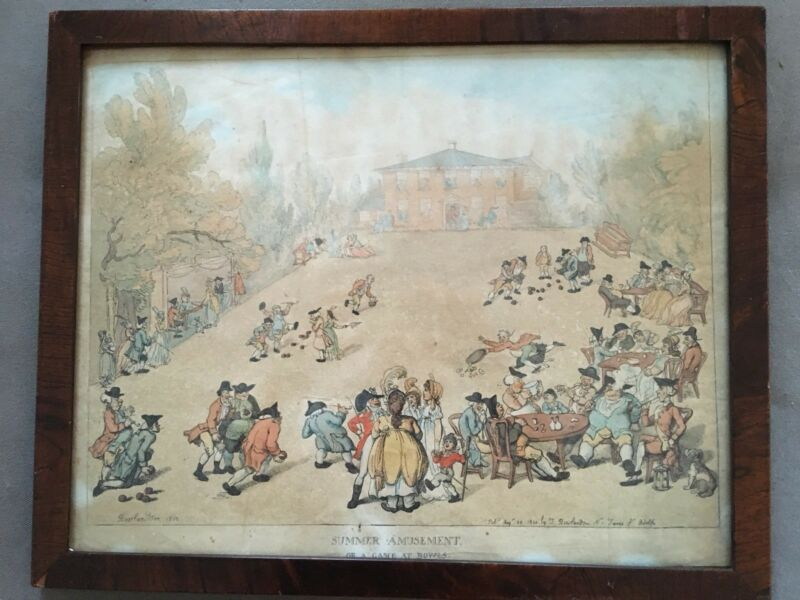 Real Thomas Rowlandson Antique Dated 1800 Original Frame Hand Colored Caricature