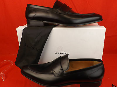 NIB VERSACE BLACK LEATHER DRESS LOGO CLASSIC PENNY LOAFERS 45 12