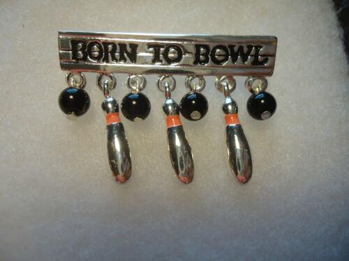 """Danecraft vtg/nos enamel """"Born To Bowl"""" ball & pins pin"""