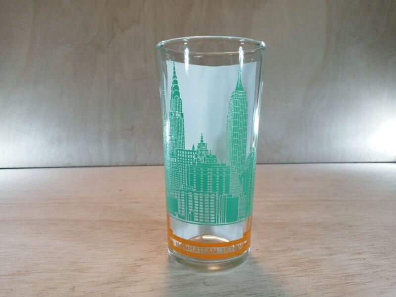 Vintage Manhattan Skyline Green & Orange Glass Cup New York City