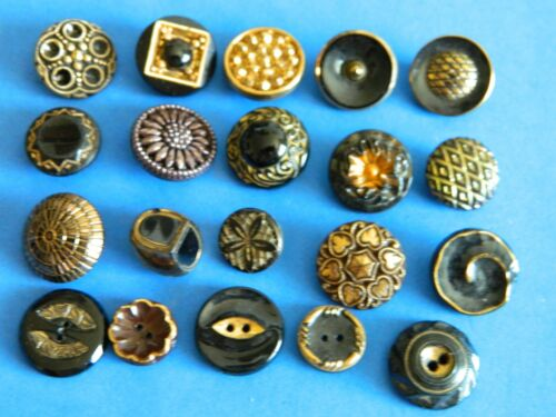 LOT of Vintage BLACK Glass Buttons 2 BROWN w GOLD Flashing - Wonderful Designs