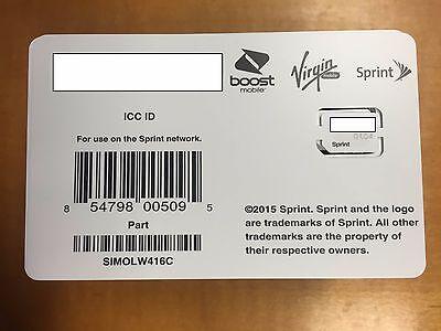 Sprint sim card SIMOLW416C SAMSUNG GALAXY S6 S6 EDGE NOTE 5 SPRINT BOOST VIRGIN