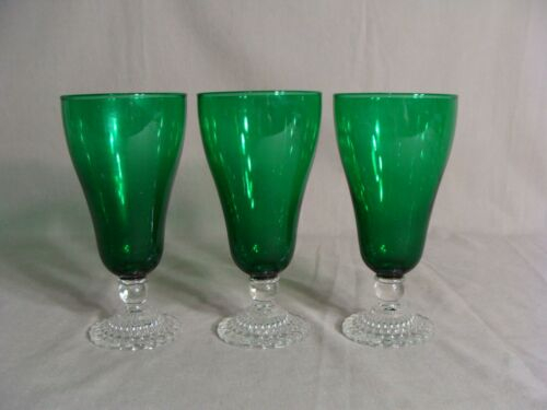 3 ANCHOR HOCKING 12 Oz Iced Tea Goblets In The Bubble Foot Green Pattern