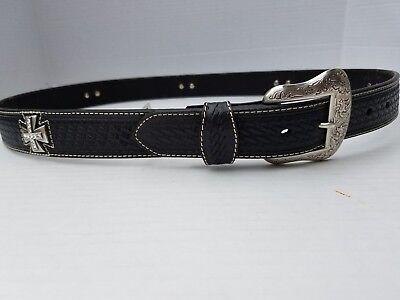 Nocona Western Mens Pro Belt Leather Maltese Cross Concho Black N2508601 SZ 44 ()