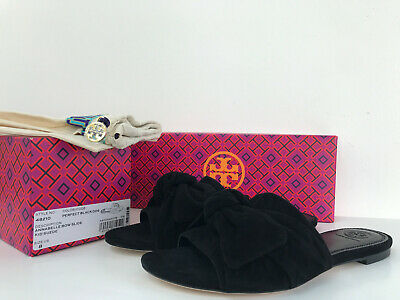 NIB Tory Burch 6M 6.5M 8M Annabelle Bow Slide Sandals Suede New Black Tori 48210