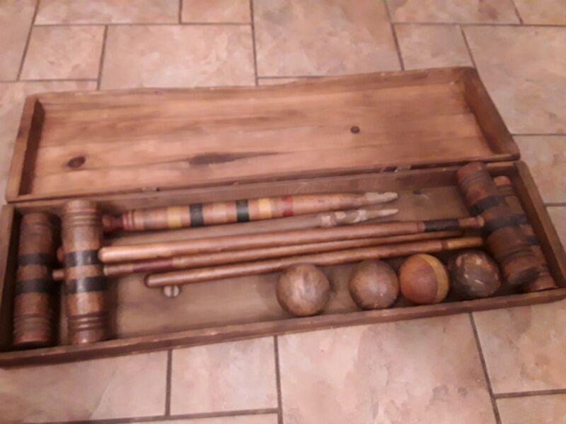 iAntique Vintage Croquet Set For Four With Orig. Wooden Case