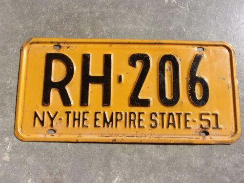 New York 1951  license plate  #  RH - 206