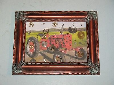 FOLKART~ FARMALL TRACTOR PHOTO WITH OLD WATCH PARTS ~ FRAMED~ NICE