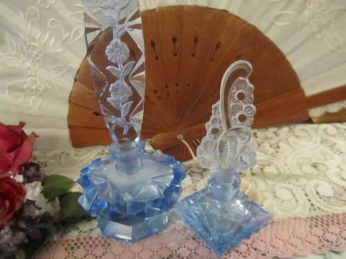 2 vintage BLUE  one IRICE Czech l Glass PERFUME BOTTLES