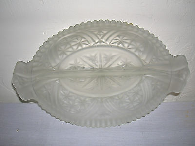 Old Vintage Frosted Press Glass Relish Candy Nut Dish Kitchen Tool MCM