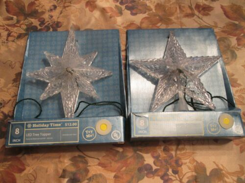 2 Holiday Time LED Tree Topper Star Light Up  LED 8 inch BRAND NEW