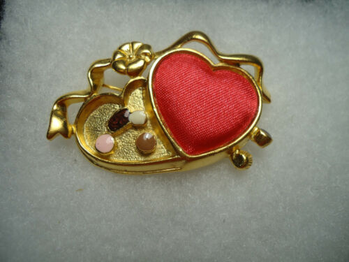 Danecraft vintage/nos gold tone red silk enamel Candy Heart pin