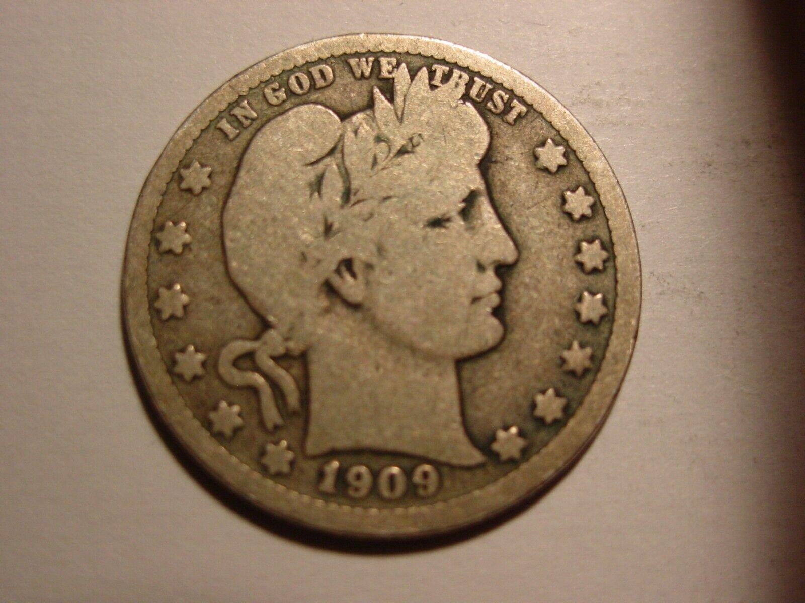 NICE 1909-D BARBER QUARTER - $5.91