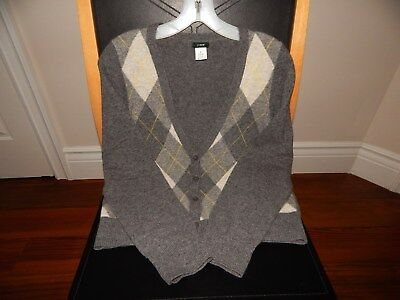 J.CREW Cropped Argyle Cardigan Sweater - Size -