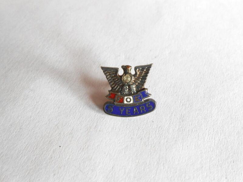 Vintage FOE Fraternal Order of Eagles 5 Year Member Sterling Screwback Lapel Pin