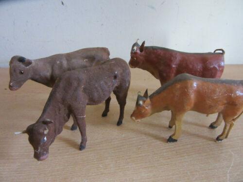 """Lot of 4 Antique German PUTZ Composition & wood Larger Cows / Bulls figures 5.5"""""""
